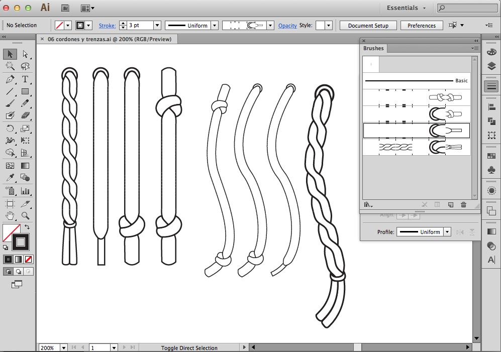 pinceles de cordones