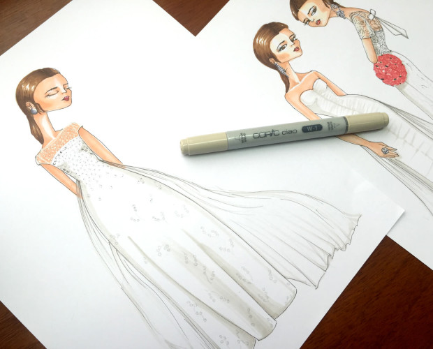 Cómo colorear un vestido de novia