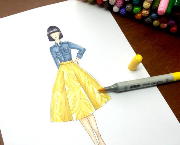 Colorear una falda con estampado