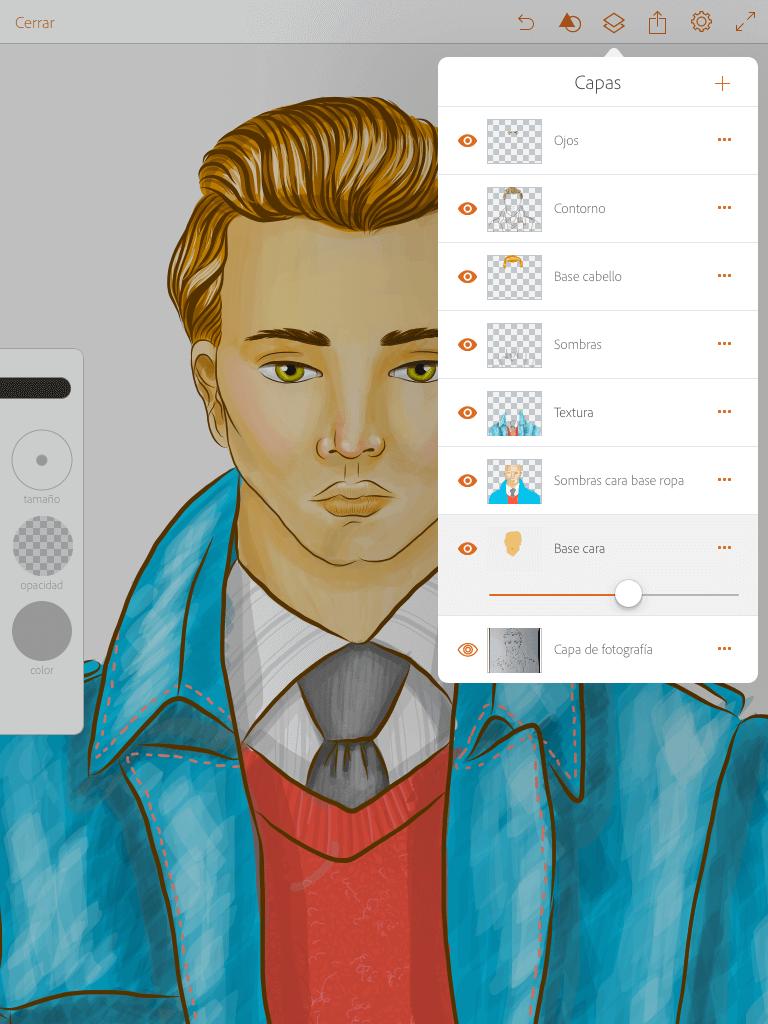 Proceso de dibujo en Adobe Draw-capas