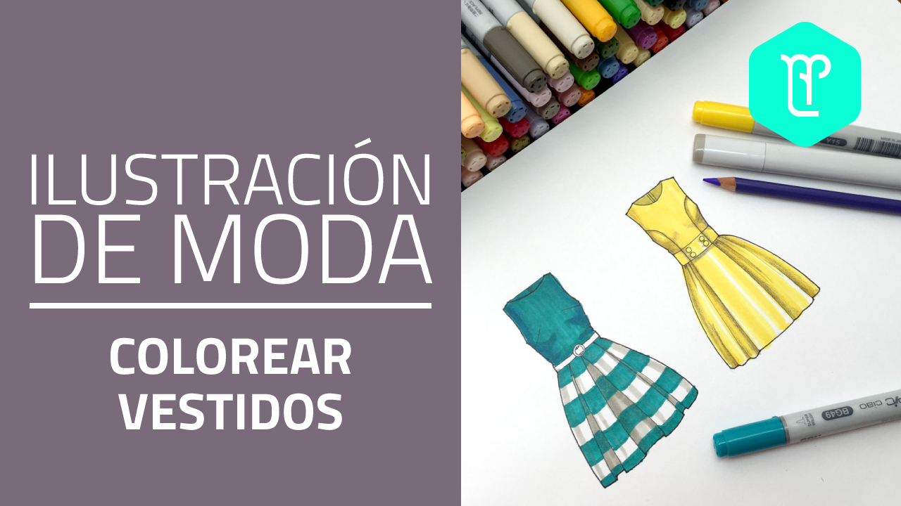 Cómo colorear vestidos con plumones o marcadores en figurines de moda
