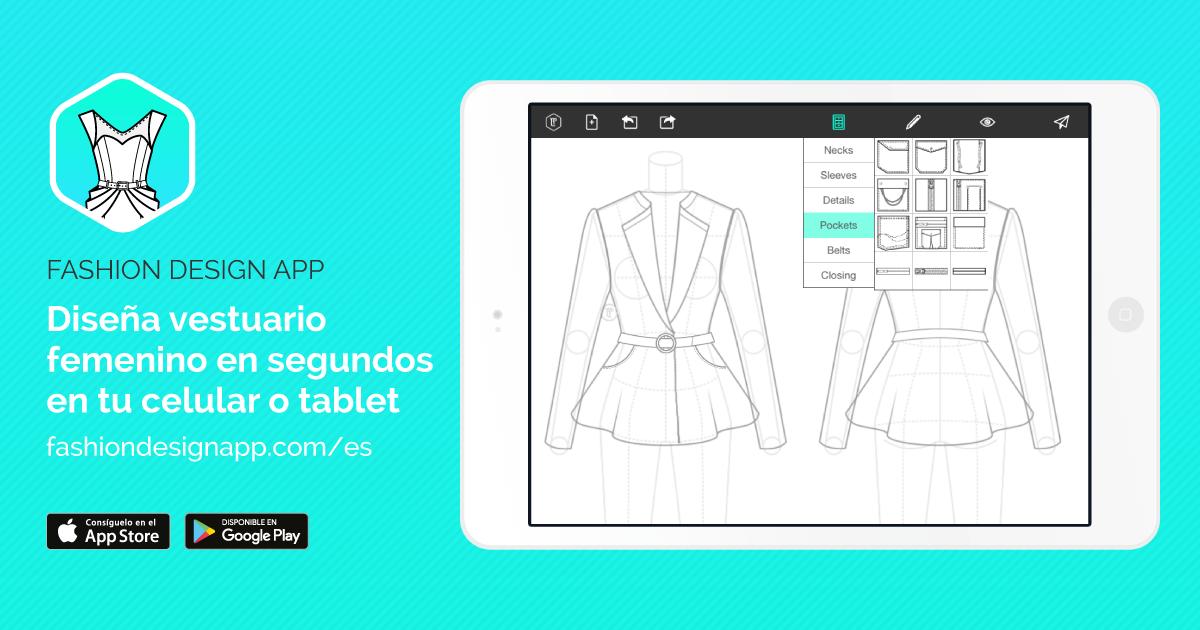 56ed7f69d App para diseño de moda  Fashion Design App Flat Sketch