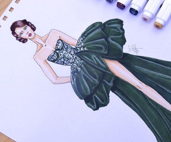colorear un vestido de gala