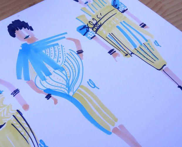 Ejercicio de bocetos de diseño de moda