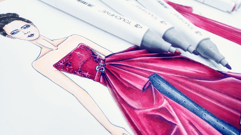 Vestido Rojo Marcadores Touch Five LauraPaez