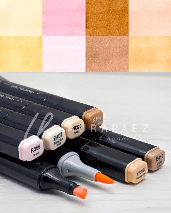 marcadores punta pincel en tonos piel