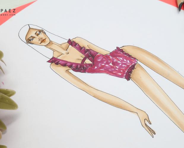 cómo dibujar un vestido de baño