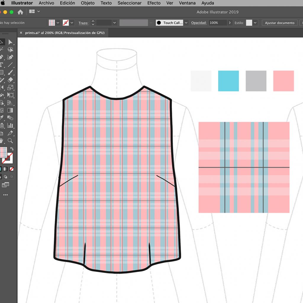 crear un estampado a cuadros en illustrator