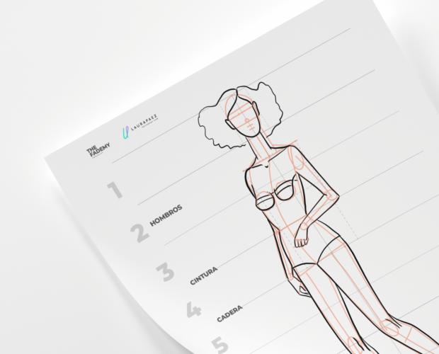 dibujar un figurín de moda con movimiento